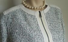 Elie Tahari Womens White Lamb Leather Tweed Combo Jacket NWOT Sz 14