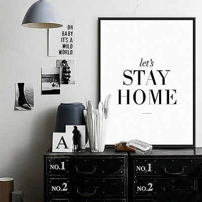 Poster Painting Wall Art Minimalist Canvas Home Decor Modern Let's Stay Home New