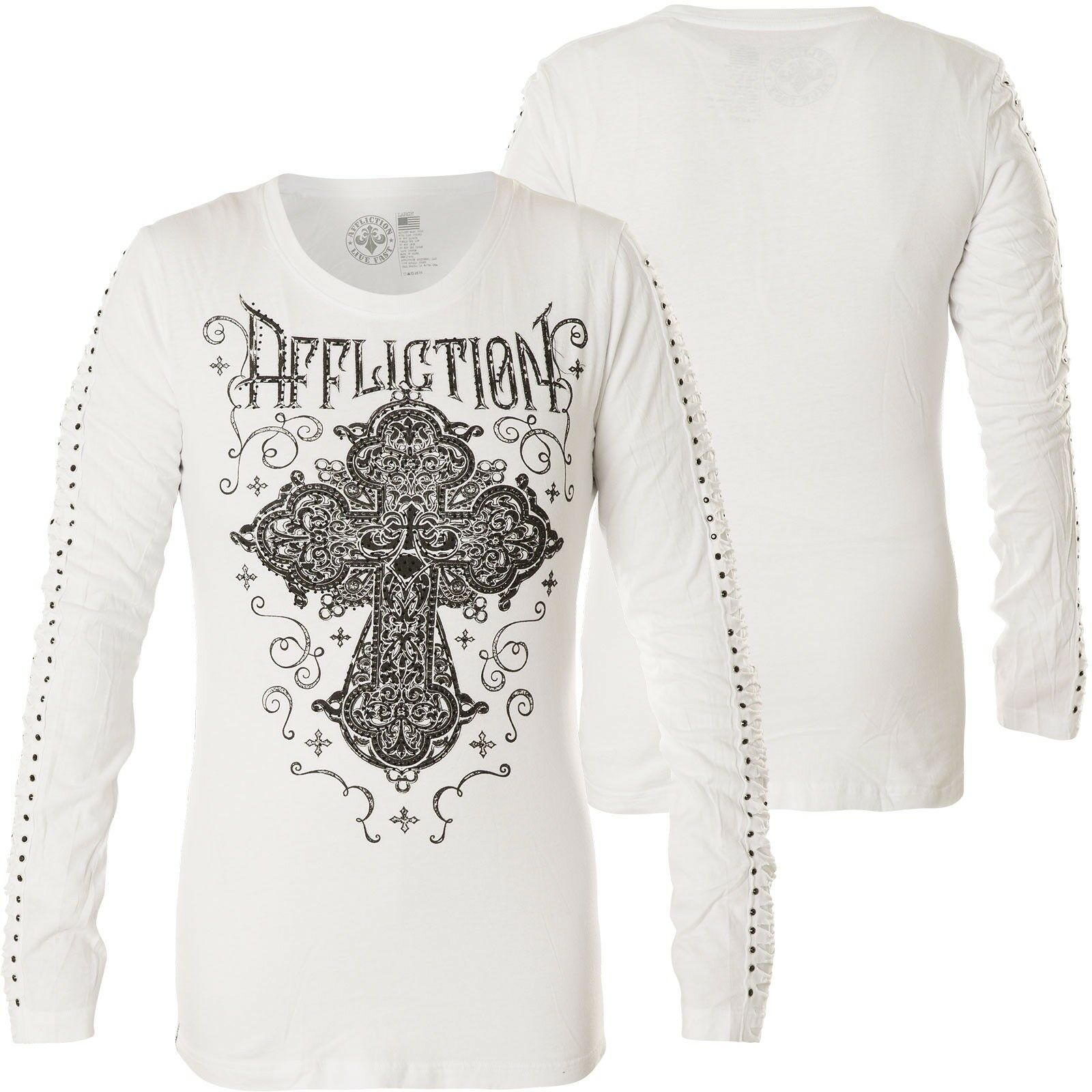 Affliction Woman Long Sleeve Raglan Eastwild Blossom White