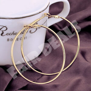 18K-80mm-8cm-Silver-Gold-Plated-Big-Extra-Large-Hoop-Golden-Nickle-Free-Earrings