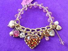 Betsey Johnson Authentic NWT Gold-Tone Pink Leopard Multi-Charm & Bead Bracelet