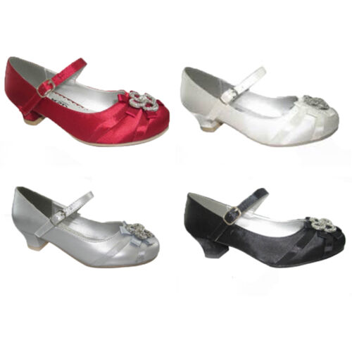 GIRLS SPARKLY SATIN SHOES BRIDESMAID WEDDING PARTY PROM BLACK RED SILVER UK 6-3