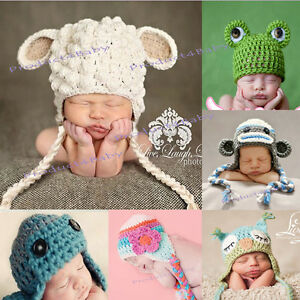 Baby Boy Girl Crochet Beanie Costume Hat Photography Pprops 0 3 6 12