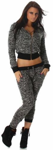 Jacke meliert mit Kapuze Sweater langärmlig NEU bunt Basic Freizeit Sport Größe