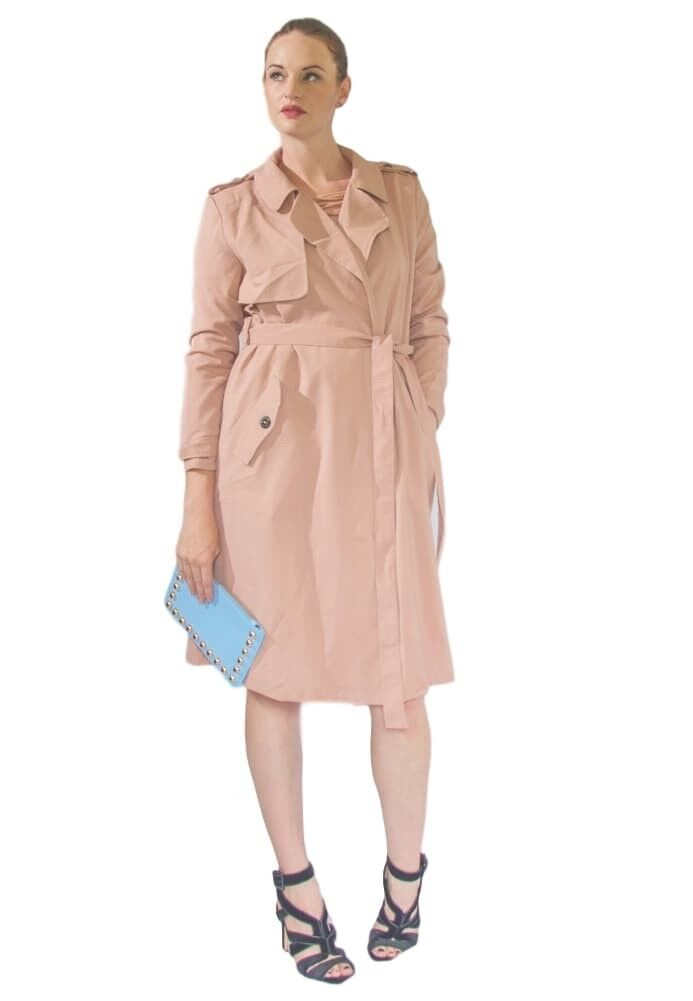 Sophisticated pink Pink Knee Length All Season Trench Coat Womens Medium
