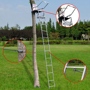 16' Deluxe Hunting Ladder Stand Tree Stand Safety Harness Seat Cushion TreeStand