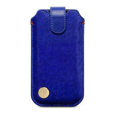 Blue Pony Skin & Leather Holder Pouch Case for Apple iPhone 5/5S/SE