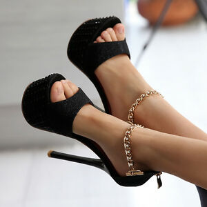Lady-Peep-Toe-Nightclub-Platform-Super-high-Heel-Shoes-Ankle-Strap-Pumps-Sandals