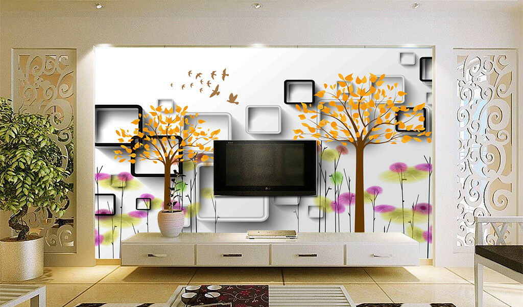 3D Gelb Tree Box 84 Wallpaper Mural Paper Wall Print Wallpaper Murals UK