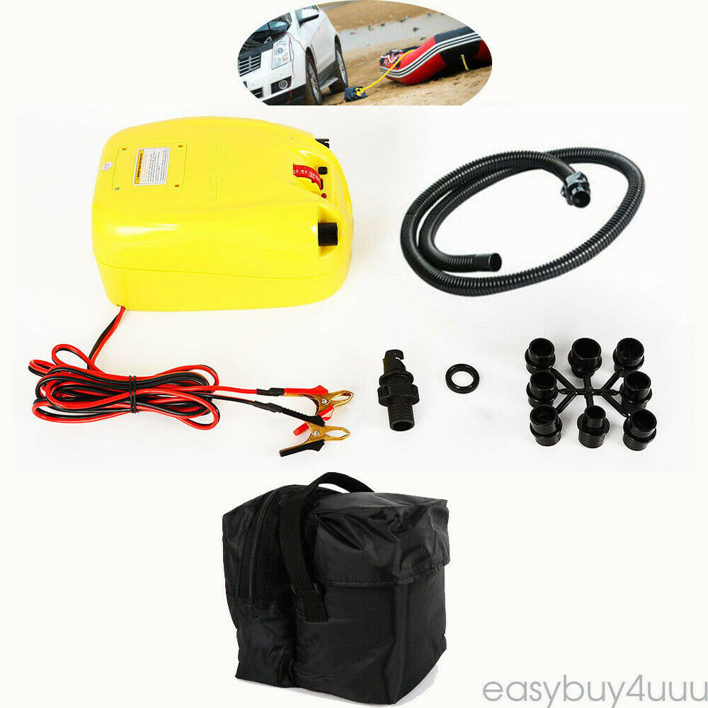 DC 12V Electric Air Pump Inflator for Inflatable Boat Raft Kayak Auto Stop 15PSI