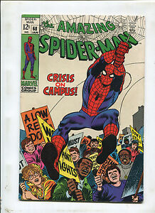 THE AMAZING SPIDER-MAN #68 (7.0) CRISIS ON CAMPUS! 1968