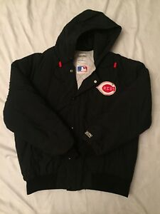 Vintage-80s-Delong-Cincinnati-Reds-Team-Issued-Bomber-Jacket-Mens-Large-Black
