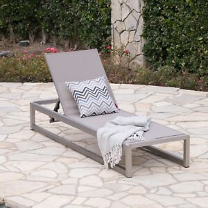 Image Is Loading San Luis Outdoor Grey Mesh Chaise Lounge With
