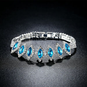 Details About Fashion Women White Gold Filled Horse Eye Blue Crystal Bracelets Jewelry