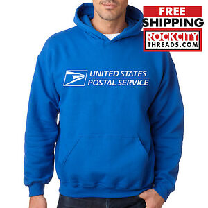 USPS POSTAL ROYAL BLUE HOODIE Hooded Sweatshirt Logo Chest United States Service