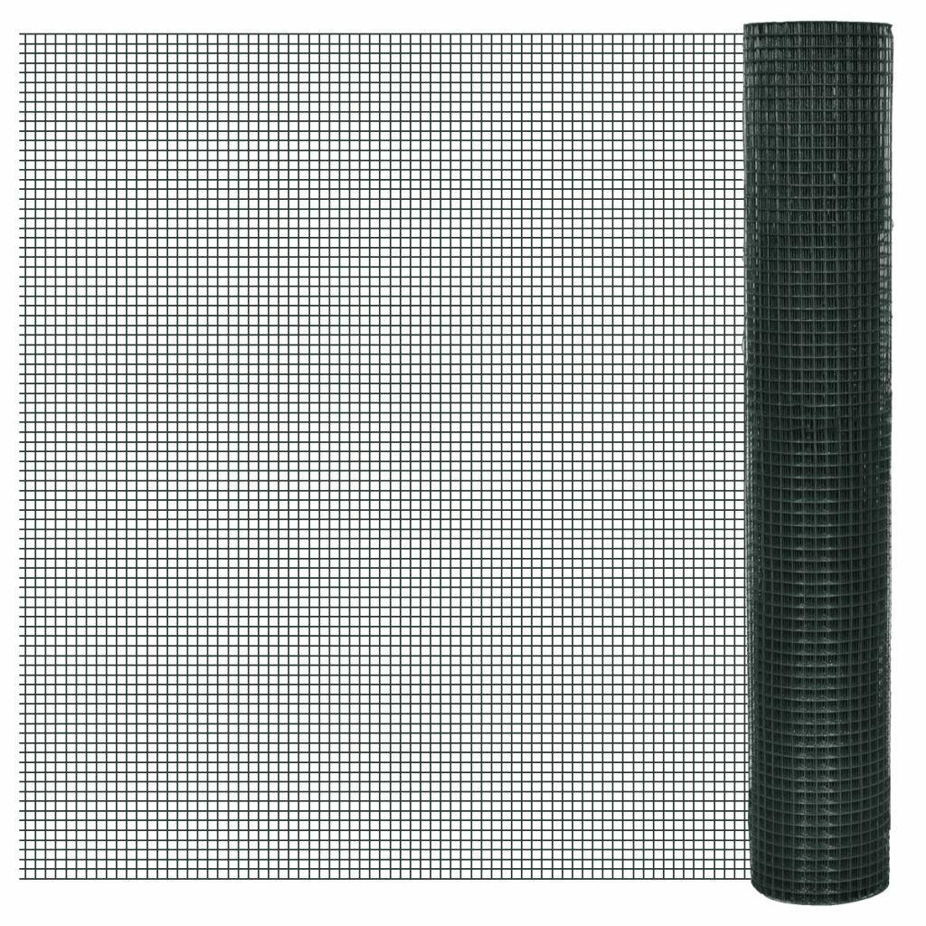 VidaXL rojo de Alambre Cuadrada de 1x25 m Cubierta de PVC y Malla 25 x 25 mm