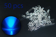 50pcs LED 3mm Blue Water Clear Ultra Bright. USA Fast Shipping