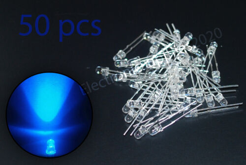 50pcs LED 3mm Blue Water Clear Ultra Bright USA Fast Shipping