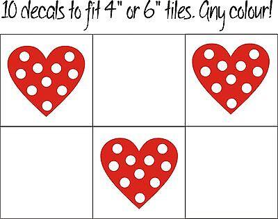 10 x Heart Polka Dot Tile transfer stickers kitchen bathroom shabby chic home