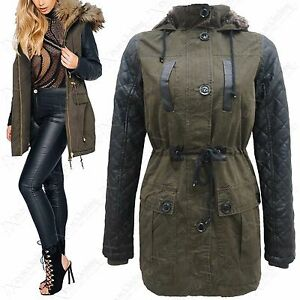 NEW-WOMENS-KHAKI-FAUX-LEATHER-QUILTED-SLEEVE-FUR-HOOD-MILITARY-PARKA-JACKET-COAT