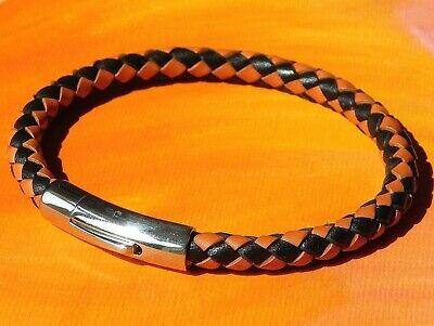 Mens ladies 10mm Black flat braided leather /& Steel bracelet by Lyme Bay Art