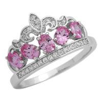 925 Sterling Silver Pink Topaz Cz Princess Crown Tiara Ring