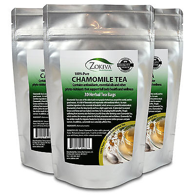 Chamomile Tea 3-Pack 90 Bags 100% Natural Premium Calming Tea Resealable Pouch