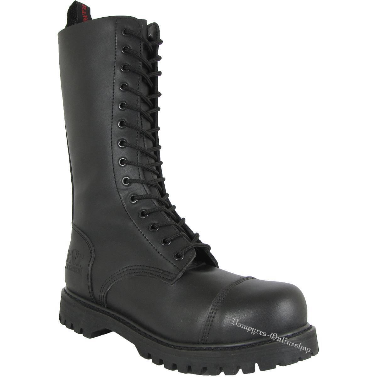 TNT 14-Loch Stiefel Side-Zip Schwarz Rangers Leder Boots Stahlkappen Schuhe Noir