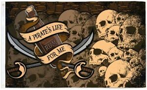 /'A Pirate/'s Life For Me/' Heap O/' Skulls 5/'x3/' Flag