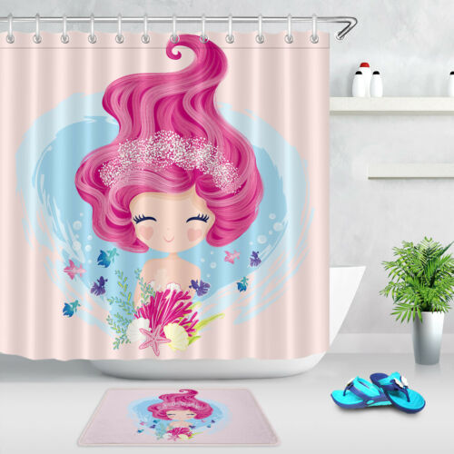 Little Cute Mermaid with Fishes and Seashells Shower Curtain Set Bathroom Decor