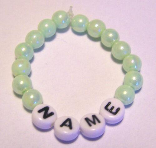 Baby Kinder Armband mit Namen für Taufe Geburt Klinik Namensband Acryl Perlen #