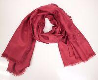 LOUIS VUITTON Red LV Monogram Wool Silk Shawl Scarf 100% authentic