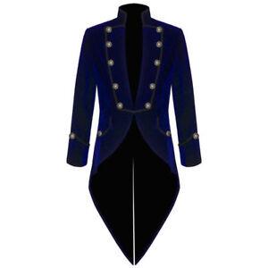 Large, Blue Darkrock New Mens Velvet Vladimir Tuxedo Jacket Tailcoat Goth Steampunk Victorian