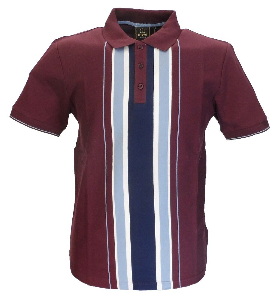 Merc Hessle Burgundy Striped Cotton Polo Shirt