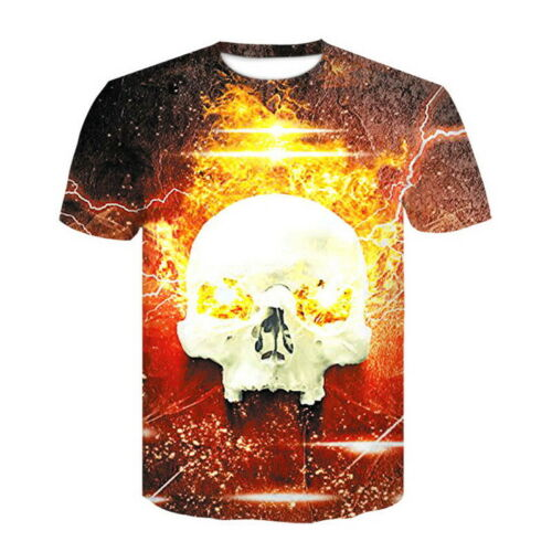 3D Printed Fashion Men/'s T-shirt Clothing Casual Short sleeve silk Tops Skull