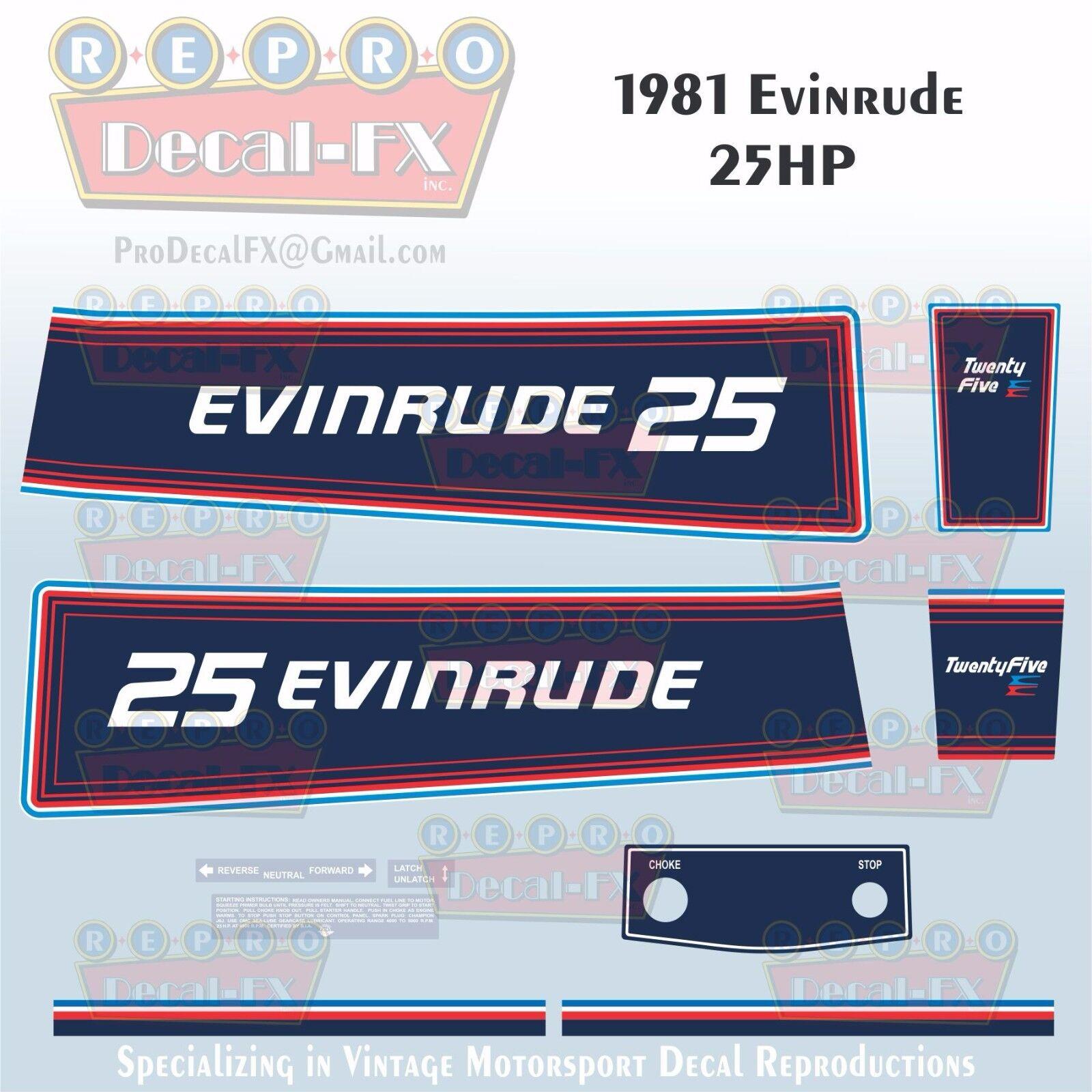 1987-88 Evinrude 40 HP VRO Outboard Reproduction 8 Piece Marine Vinyl Decals