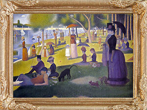 Seurat SUNDAY AFTERNOON - Dollhouse Miniature FRAMED Picture - MADE IN AMERICA