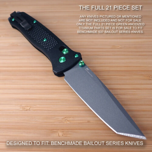 Benchmade 537 BAILOUT 21pc GREEN Titanium Screw Pivot Standoff Pin ThumbStud Set
