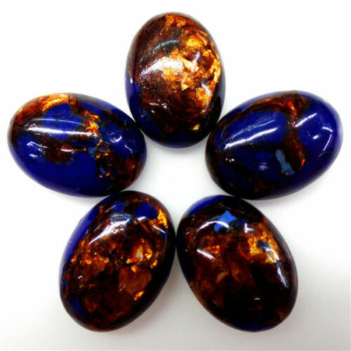 5Pcs Pretty Lapis Lazuli /& Gold Copper Bornite stone CAB CABOCHON 25*18*6mm A709