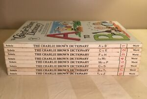 Vintage-The-Charlie-Brown-Dictionary-8-Vol-Book-Set-Charles-Schulz-Peanuts-1973