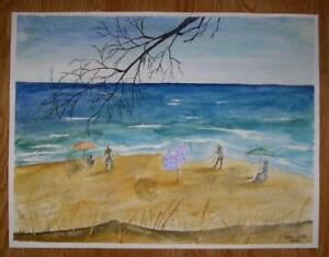 FOLK ART NAIVE SUN BATHERS SWIMMING NAUTICAL BEACH OCEAN LISTED ARTIST PAINTING