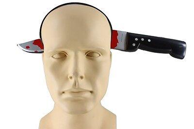 Joke Knife Through Head Bloody Plastic Knife Headband Costume Prop CLOSEOUT