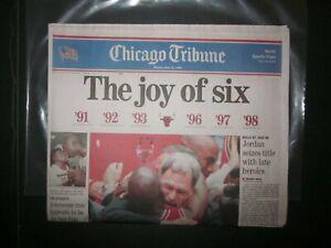 1998-Chicago-Tribune-Newspaper-Bulls-Win-6th-Michael-Jordan-Mint