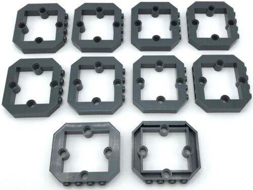 Lego 10 New Dark Bluish Gray Panel 1 x 6 x 4 1//3 with Window and 4 Pin Holes