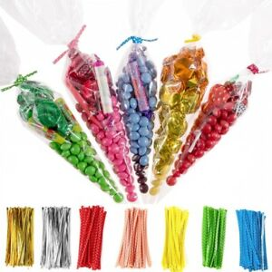 CLEAR-CELLOPHANE-CONE-BAGS-LARGE-FOOD-SWEET-CANDY-KIDS-Party-Favour-Cones-cello