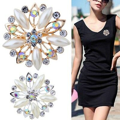 Women's Rhinestone Crystal Silver Plated Wedding Bridal Brooch Pins Flower Pearl