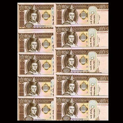2013-2016 Banknotes Unc P-64 Steady Lot 10 Pcs Mongolia 50 Tugrik 1/10 Bundle