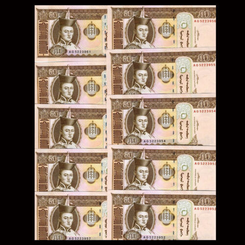 2013-2016 Mongolia 50 Tugrik UNC LOT 10 PCS Banknotes P-64 1//10 Bundle