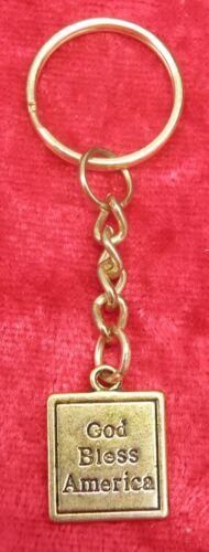 Small God Bless America USA Gold-tone United States Keyring Key Ring Souvenir