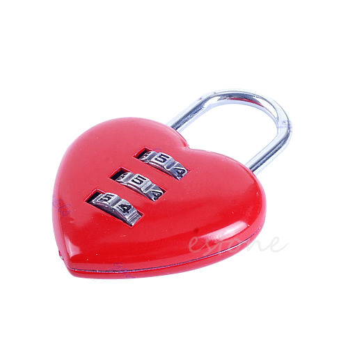 Mini Cute 3 Digits Luggage Suitcase Padlock Coded Lock Red Heart Shaped
